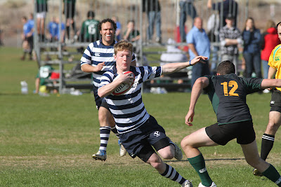 BYU Rugby Winger David Root cuts to the side to set up the back effort