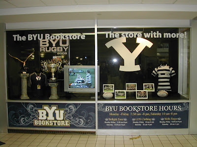 BYU Bookstore display honoring the 2009 National Championship BYU Rugby Team