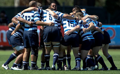 The BYU Rugby team gets fired up before a lesson in dominance over Army in the 2010 College Rugby Big Four