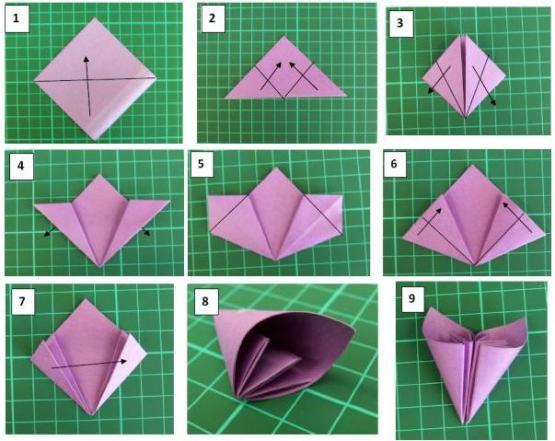 Цветы из бумаги для оригами своими руками 723