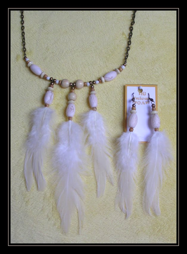 Faux Bone Necklace and Earrings