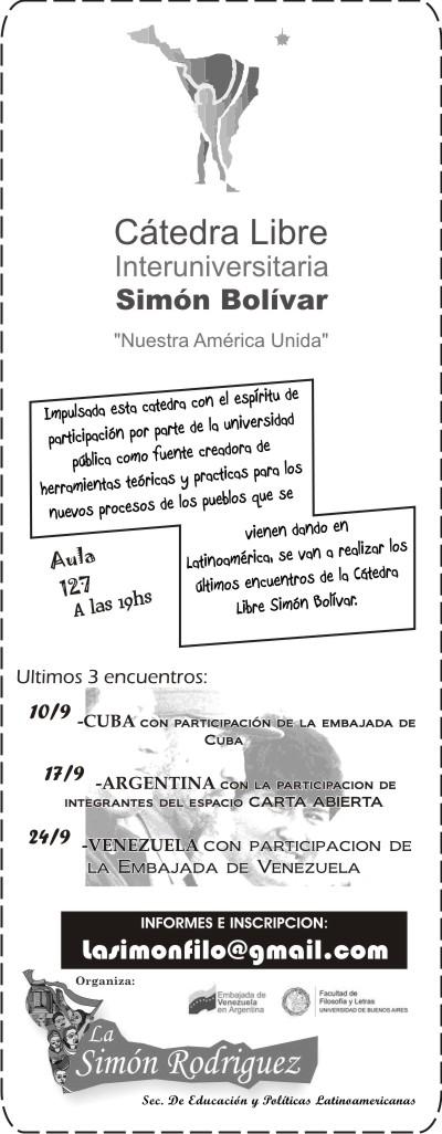 Catedra Simón Bolivar - el encuentro del 24/9 se pasó para el 1/10