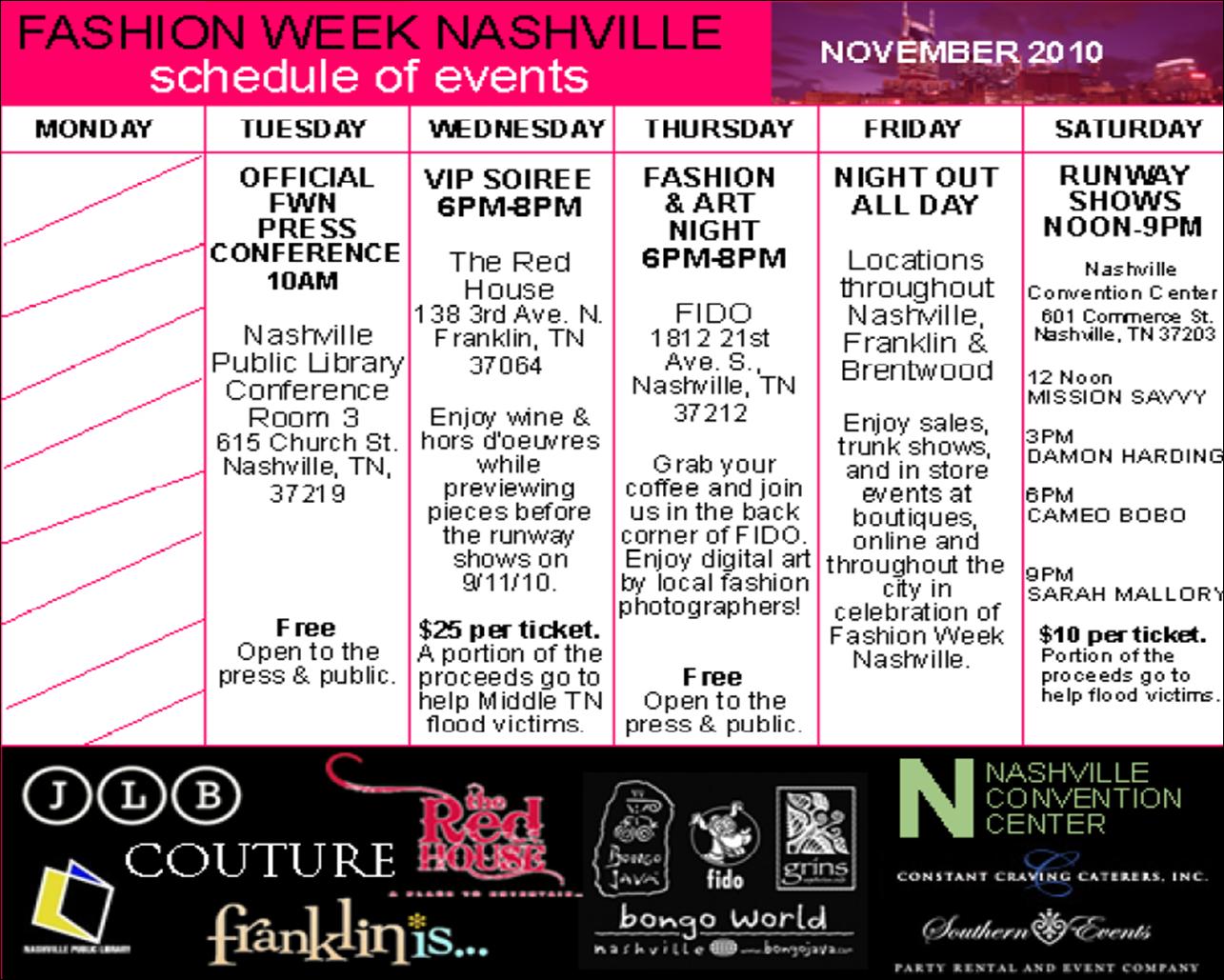 April Calendar Nashville : Nashville fashion week november