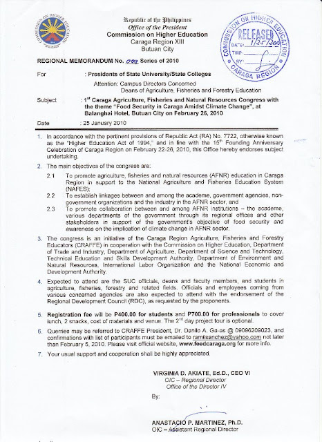 CHED - Caraga: RM9S2010 - 1st Caraga Agriculture, Fisheries and ...
