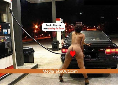 Naked gas woman pumping