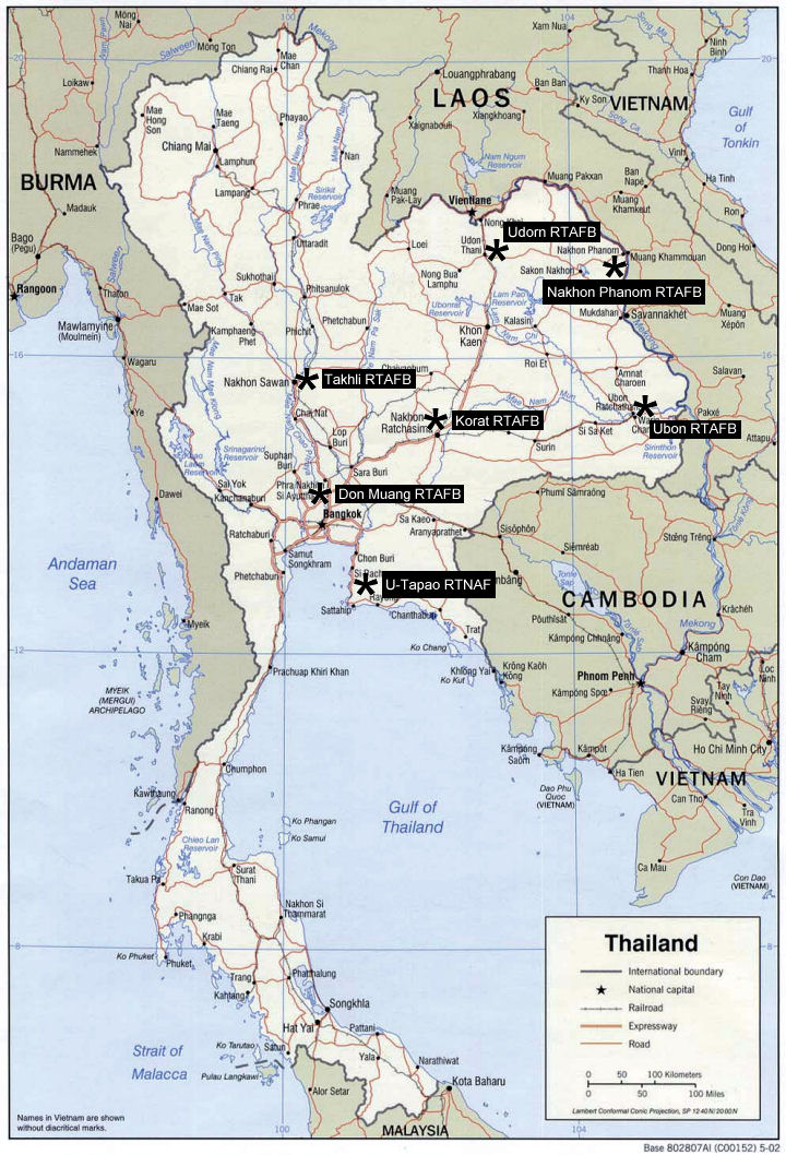 Thailand Aviation USAF Units In Thailand During The Vietnam - Map of us air force installations