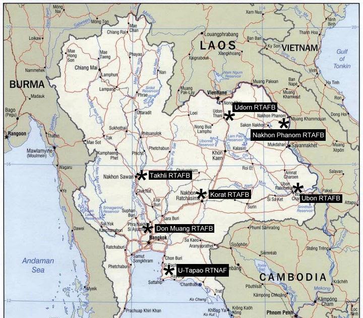 Thailand Aviation USAF units in Thailand during the Vietnam – Map Us Bases Vietnam 1970
