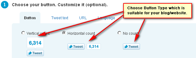 Choose Twitter counter button type