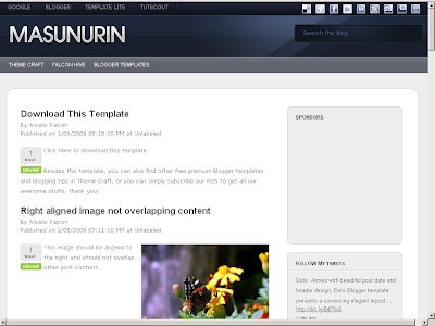 free masunurin blogger theme
