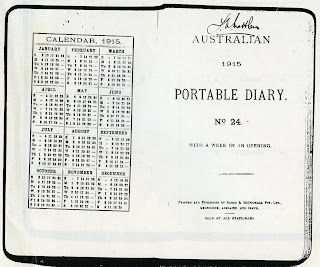 Cover of Leslie William Matthews' 1915 Diary