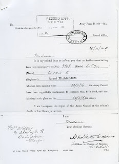 Letter from Infantry Record Office to Marjory Wilkie 1919