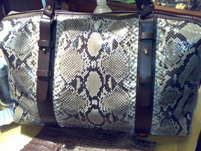python  snake leather bag