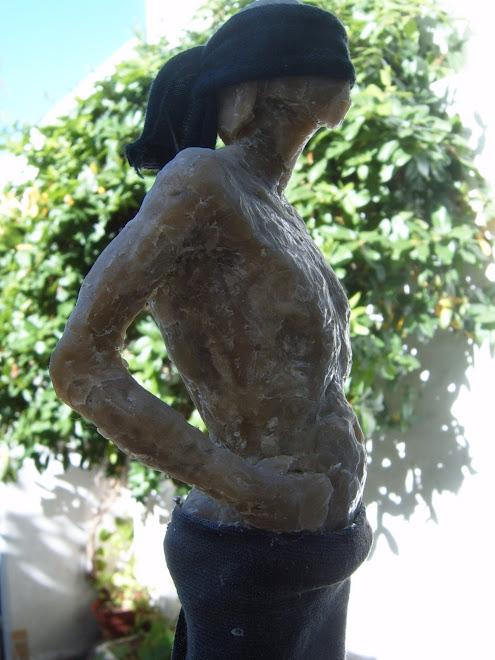 estudio de torso,modelado en cera.