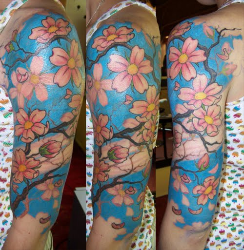 Cherry Blossoms Japanese Sleeve Tattoos