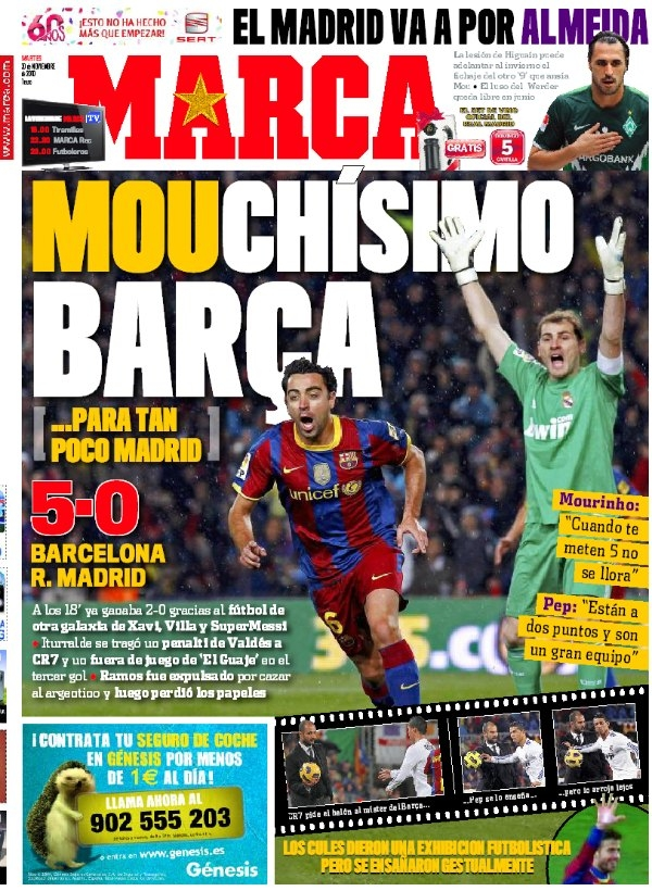 Barcelona-R. Madrid, portadas de Marca y As