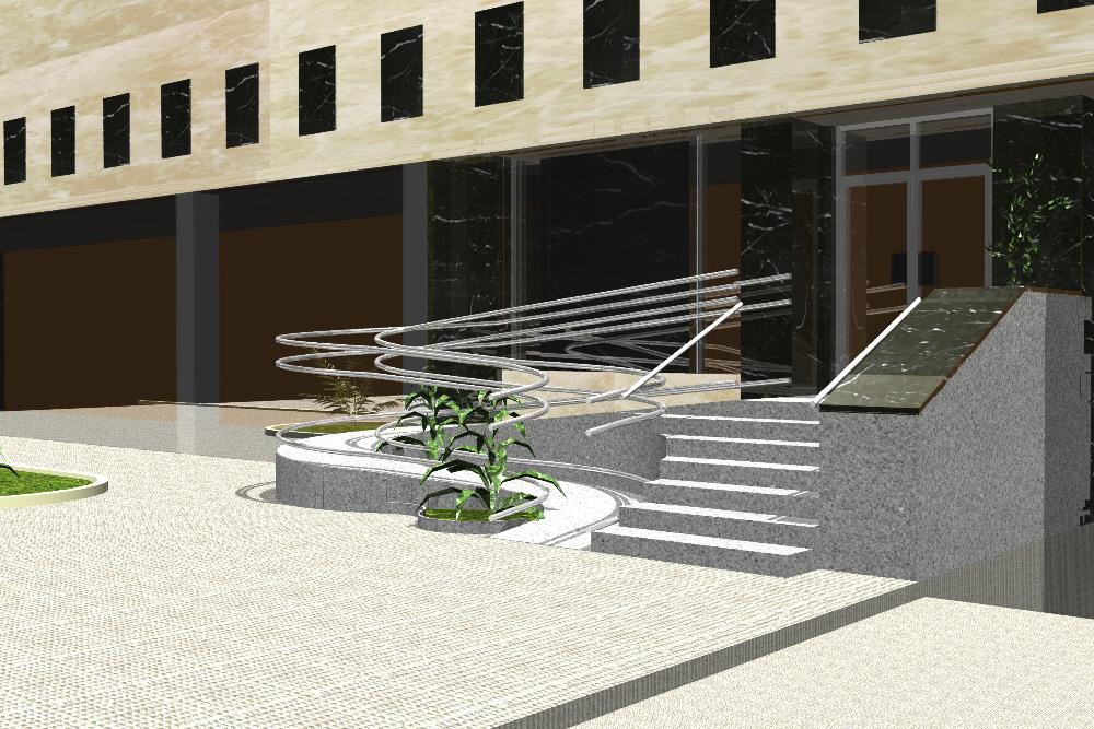 Infograf A Y Delineaci N 3d Rampa De Minusv Lidos A Edificio