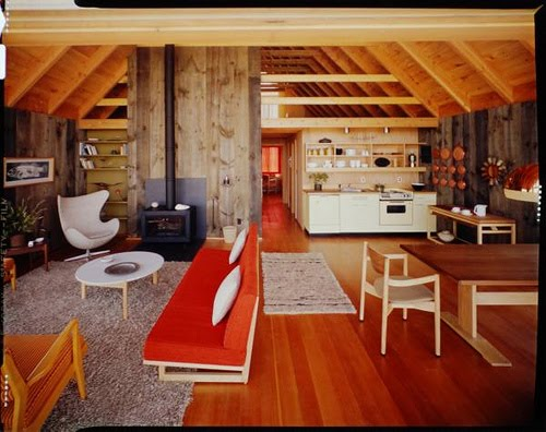 The north elevation spaces jens risom 39 s prefab weekend house for Mid century modern prefab homes