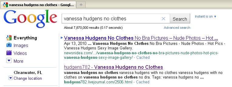 "... links that popped up from a search for ""Vanessa Hudgens No Clothes."""