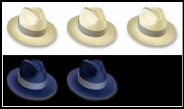 tre cappelli bianchi e due neri