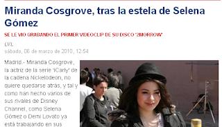 Miranda Cosgrove o Selena Gomez