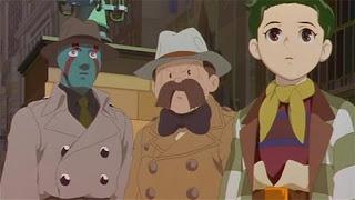 Robot detective Pero, Detective Shunsaku Ban, and his nephew Kenichi