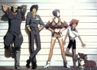 The cast of Cowboy Bebop: Jet, Spike, Faye, Ed, and Ein