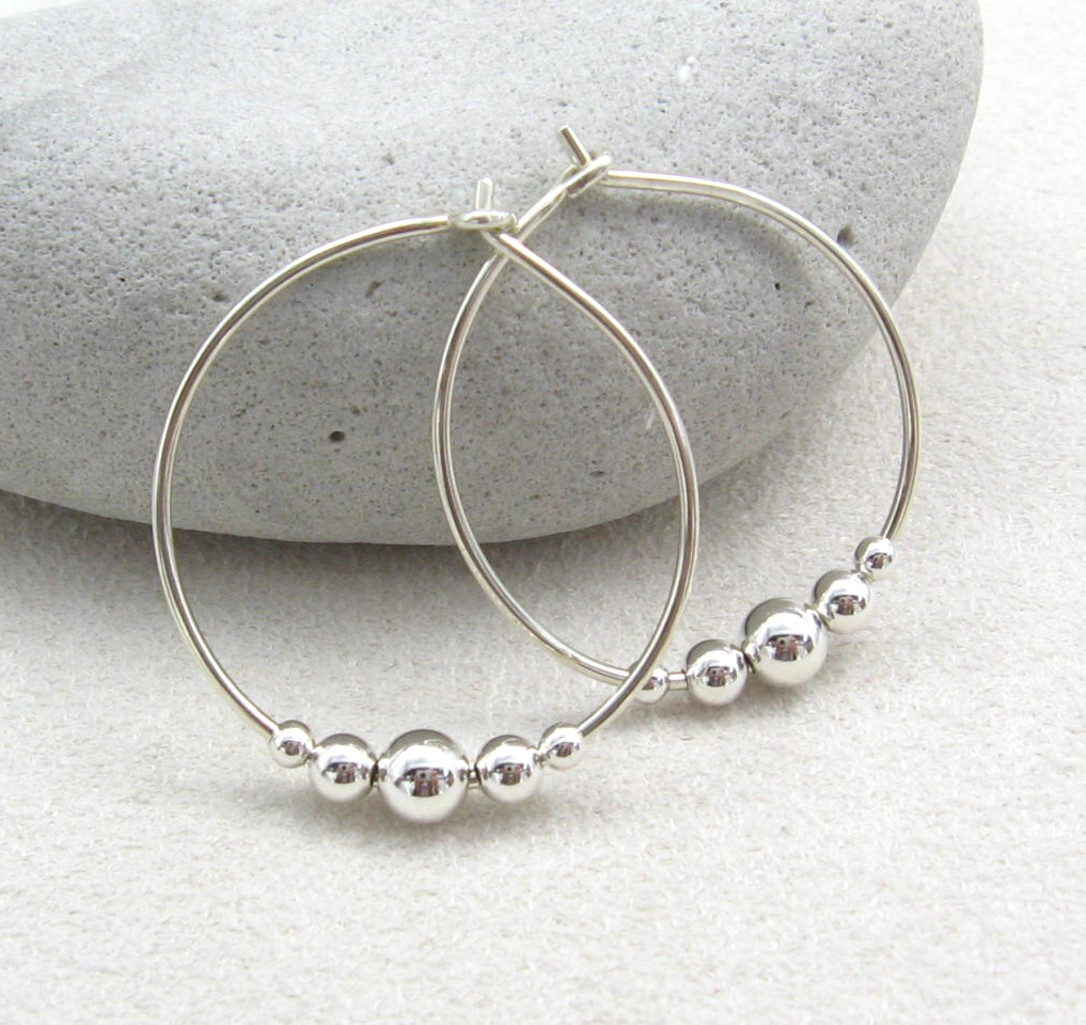Handmade Sterling Silver Beaded Hoop Earrings Sarina
