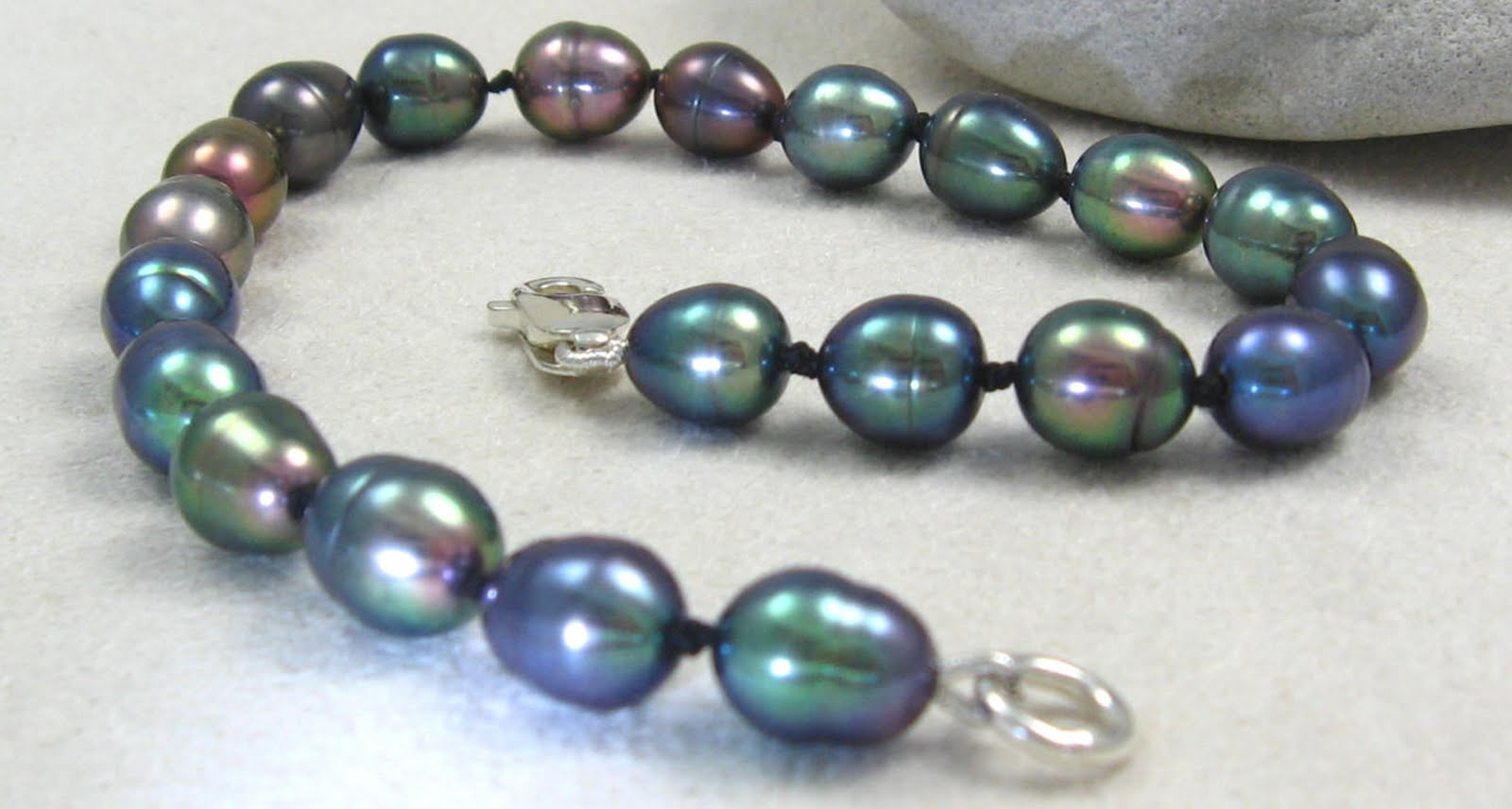 Gracie Jewellery: Hand Knotted Peacock Freshwater Pearl ...