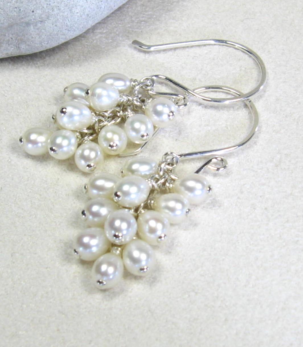 Handmade Sterling Silver Freshwater Pearl Earrings  Kirsten