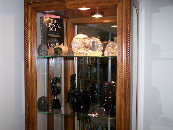 Crystal skull shelf over Obsidian shelf