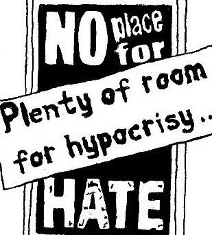 Poster image: No Place For Hate, Plenty Of Room For Hypocrisy
