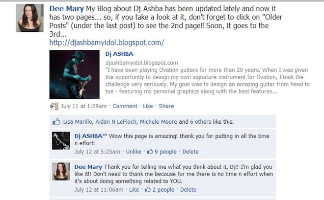 Dj ASHBA commented on my Blog on Facebook!! That was beautiful...