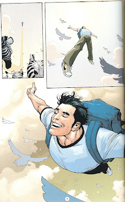 Superman: Birthright sample page of Clark Kent flying