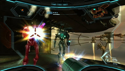 Metroid Prime 3 screenshot: Battle with Steambots in SkyTown