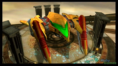 Metroid Prime 3 screenshot: Samus' gunship in SkyTown