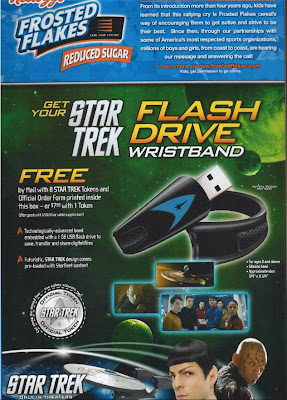 Frosted Flakes box with Star Trek Flash Drive offer