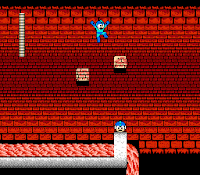 Mega Man 2 screenshot of the disappearing brick challenge in Heat Man's stage