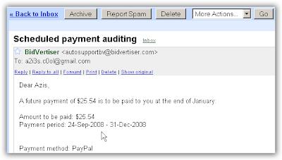 Email pembayaran dari bidvertiser