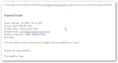 Email Notification Payment from Subvert and Profit