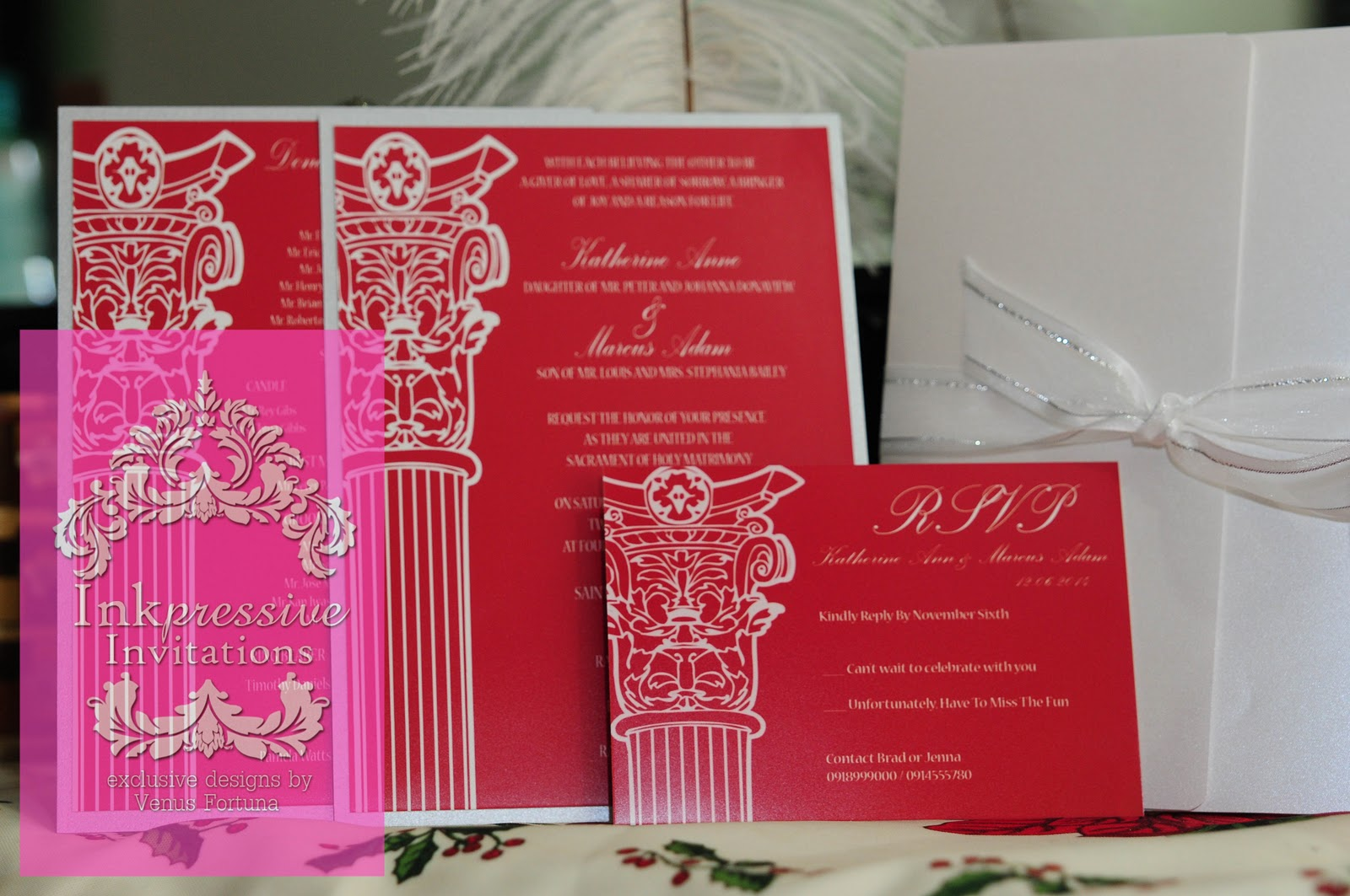 Red Silver Greek wedding invitation | INKPRESSIVE INVITATIONS