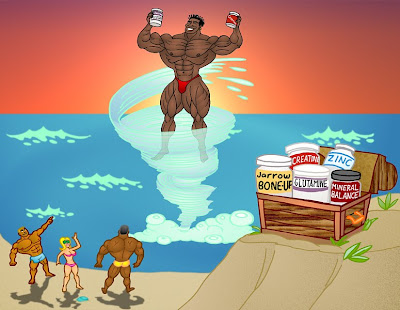 ROBBY ROBINSON - BODYBUILDER MUSCLE ANIMATION BY ART BINNINGER ROBBY AND HIS BODYBUILDING FRIENDS  ON THE MUSCLE BEACH WITH  RR'S NATURAL ANABOLIC SUPPLEMENTS AND HERBS  FOR HEALTH AND MUSCLE BUILDING AT ANY AGE ▶  www.robbyrobinson.net/anabolic-pack.php