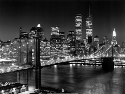 Black And White City At Night. new york city at night black