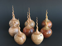 Twisted lidded boxes by woodturner Robbie Graham