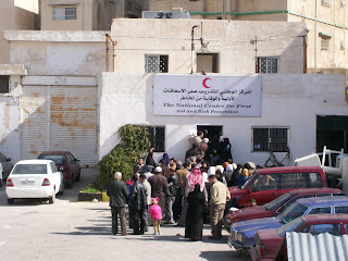 Iraqis line up for basic health services at a Jordanian Red Crescent clinic in East Amman. [photo: Emily Stivers, 2-28-08]