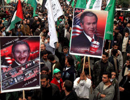 a protest against Bush's visit to Israel and Palestinian territories yesterday