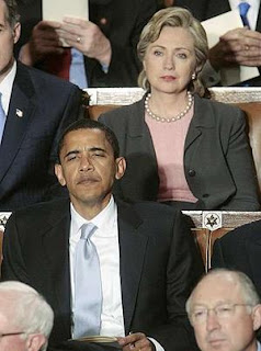Presidential candidates Barack Obama and Hillary Clinton at the 2008 State of the Union Address