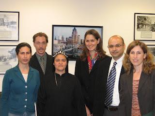 From right to left: Iraqi peacebuilders Hero Anwar, EPIC's Erik Gustafson, Sister Helen, Lynn Kunkle, Samuel Rizk and Lisa Schirch. (photo by Geoff Schaefer)