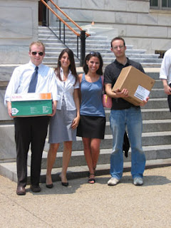 From left to right: Chris Breuer, Julia Stutz, Emily Stivers and Geoff Schaefer were just a few of the EPIC staff and volunteers who helped with our Capitol Hill action on behalf of refugees.