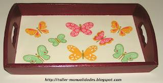 Taller de manualidades bandeja con servilletas t cnica - Servilletas de papel decoradas para manualidades ...