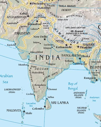 A blank map of South Asia can be found here.